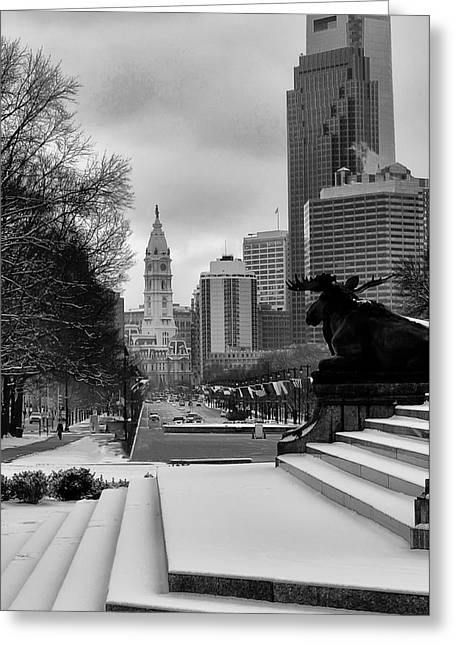 Cityhall Greeting Cards - Frozen Philadelphia Greeting Card by Bill Cannon