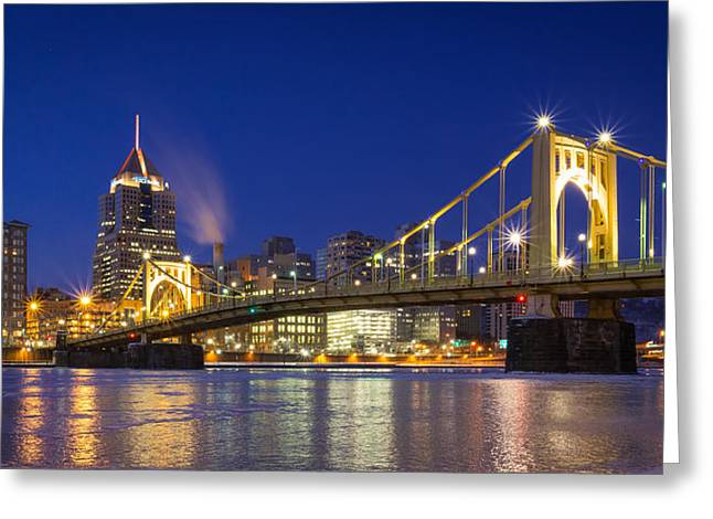 5th Avenue Place Greeting Cards - Frozen Pittsburgh Greeting Card by John Duffy