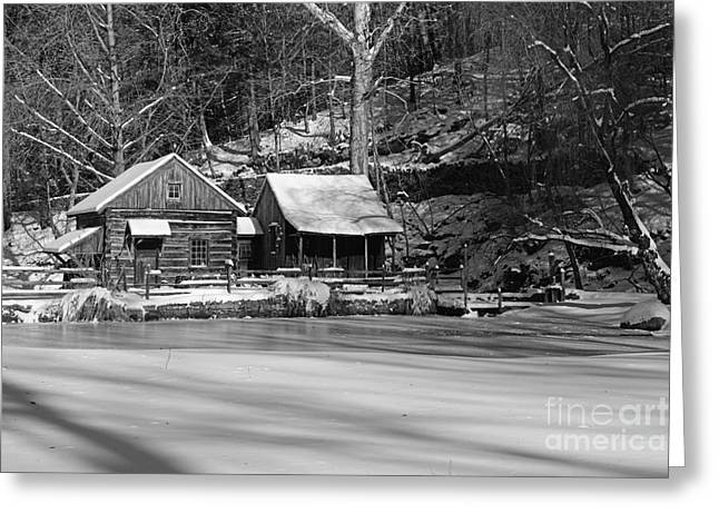 Snow Scene Landscape Greeting Cards - Frozen Pond in Black and White Greeting Card by Paul Ward
