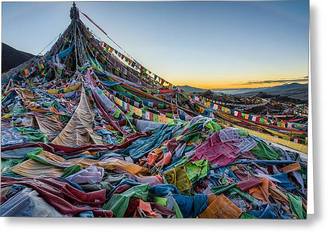 Tibetan Buddhism Greeting Cards - Frozen Prayer Flags Greeting Card by James Wheeler