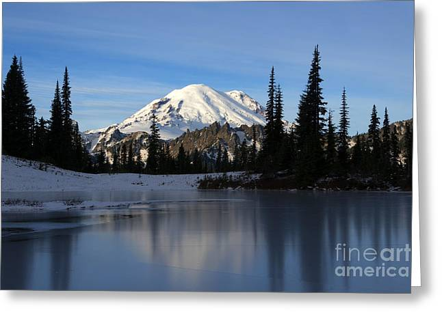 Mt Photographs Greeting Cards - Frozen Reflection Greeting Card by Mike Dawson