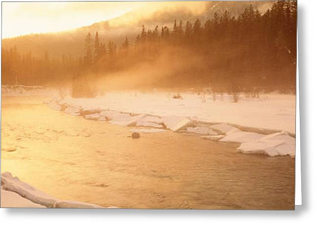 Wintry Greeting Cards - Frozen River, Bc, British Columbia Greeting Card by Panoramic Images