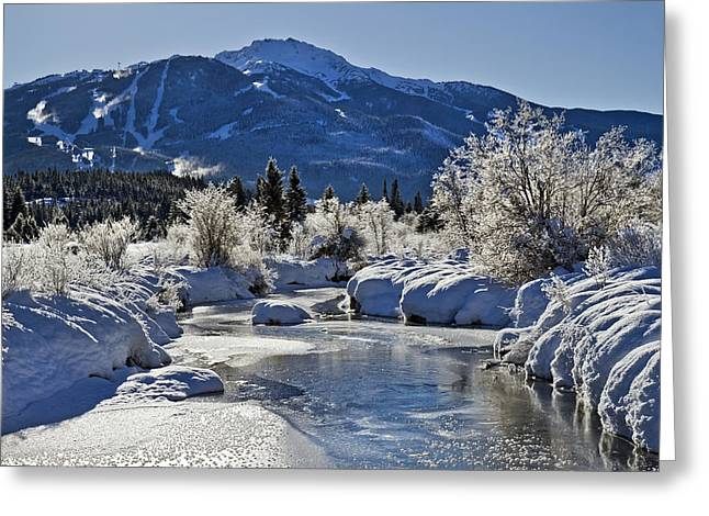 Snowy Day Greeting Cards - Frozen River of Golden Dreams Whistler Greeting Card by Pierre Leclerc Photography