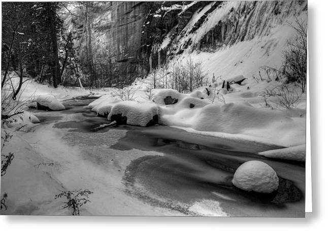 West Fork Greeting Cards - Frozen Splendor Greeting Card by Sue Cullumber
