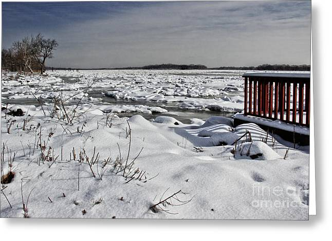 Drifting Snow Greeting Cards - Frozen River Greeting Card by Tom Gari Gallery-Three-Photography