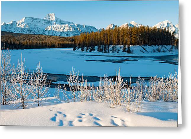 Jasper National Park Greeting Cards - Frozen River With Mountain Range Greeting Card by Panoramic Images