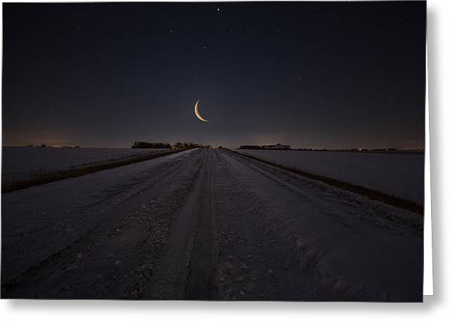 Fresh Snow Greeting Cards - Frozen Road to Nowhere Greeting Card by Aaron J Groen