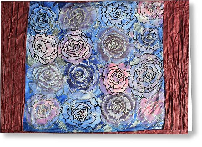 Botanicals Tapestries - Textiles Greeting Cards - Frozen roses Greeting Card by Nora Padar