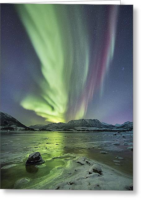 Astrophoto Greeting Cards - Frozen shores Greeting Card by Frank Olsen