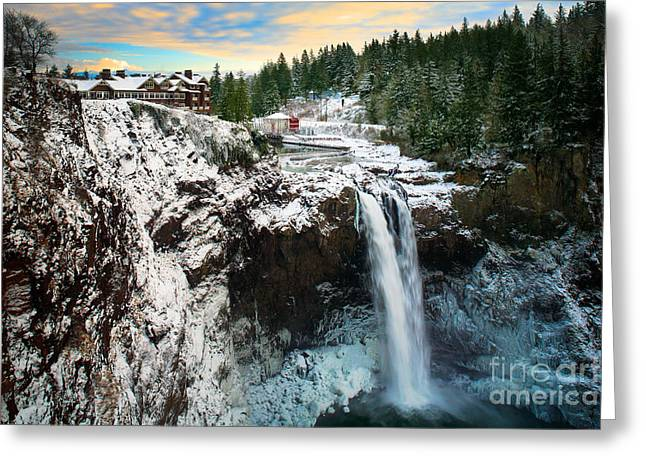 Winter Travel Greeting Cards - Frozen Snoqualmie Falls Greeting Card by Inge Johnsson