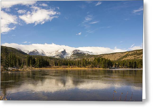 Sprague Greeting Cards - Frozen Sprague Lake Reflection - Rocky Mountain National Park Estes Park Colorado Greeting Card by Brian Harig