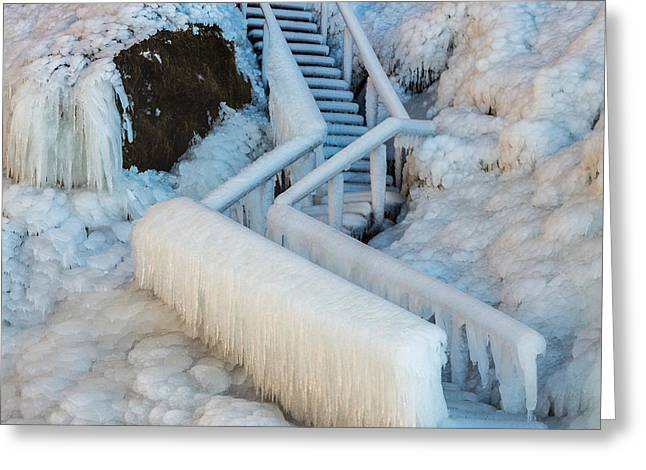 Temperature Greeting Cards - Frozen Staircase By Seljalandsfoss Greeting Card by Panoramic Images