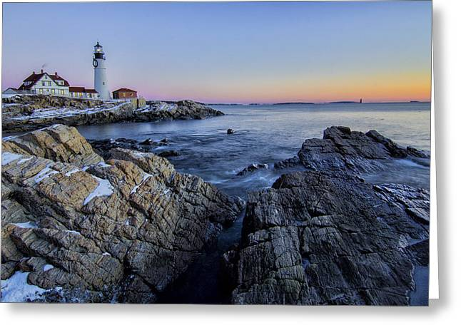 Maine Landscape Greeting Cards - Frozen Sunrise Greeting Card by Benjamin Kelley