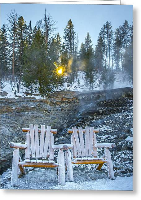 Steamy Greeting Cards - Frozen sunrise Greeting Card by Chelsea Stockton