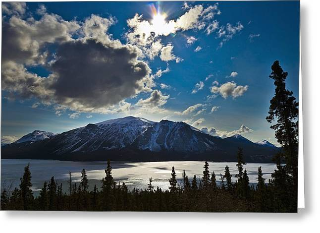 Klondike Gold Rush Greeting Cards - Frozen Tagish Lake And Mountains Greeting Card by Blake Kent