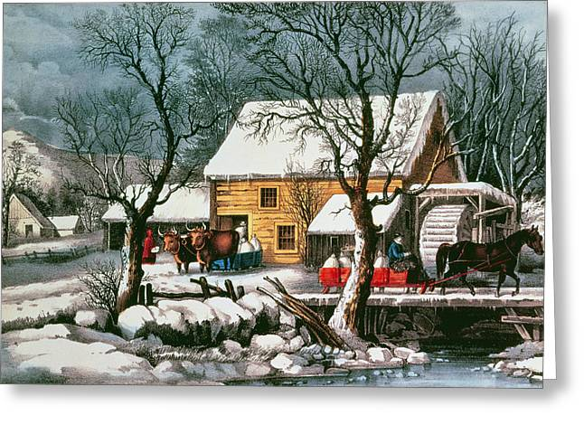 Yoke Greeting Cards - Frozen Up, 1872 Print Greeting Card by N. Currier