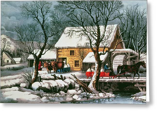 Frozen Up Greeting Card by Currier and Ives