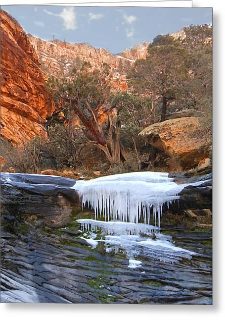 Snowy Mountain Loop Greeting Cards - Frozen Waterfall Greeting Card by Alan Socolik