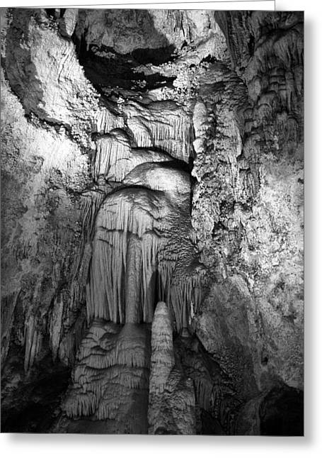 Cavern Greeting Cards - Frozen Waterfall in Carlsbad Caverns Greeting Card by Melany Sarafis