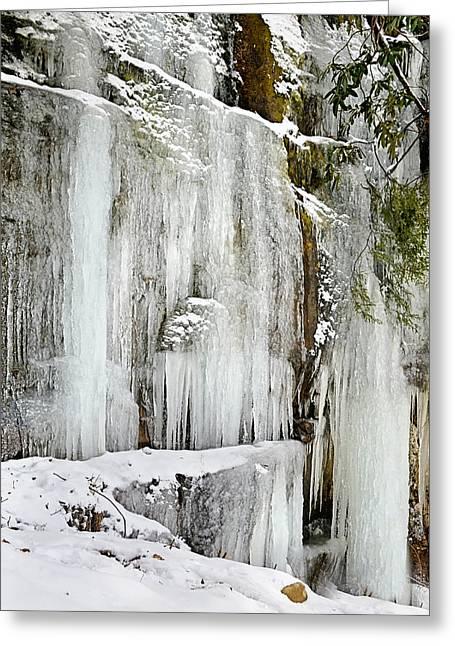 Vinter Greeting Cards - Frozen Waterfall Greeting Card by Lj Lambert