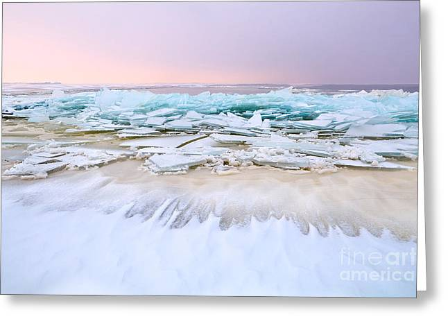 North Sea Greeting Cards - Frozen waves Greeting Card by Olha Rohulya