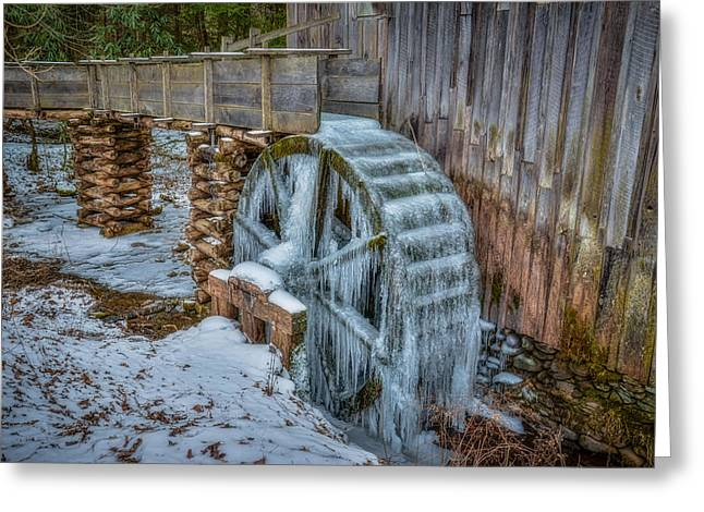 Grist Mill Greeting Cards - Frozen Wheel at the Grist Mill Greeting Card by Matt and Delia Hills Photography