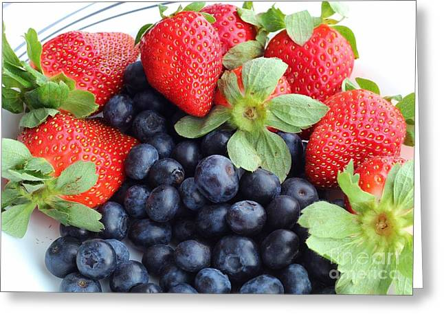 Green Barbara Griffin Art Greeting Cards - Fruit 2- Strawberries - Blueberries Greeting Card by Barbara Griffin
