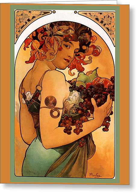 Alphonse Maria Mucha Greeting Cards - Fruit Greeting Card by Alphonse Maria Mucha