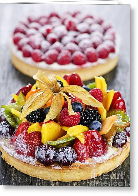 Uncut Greeting Cards - Fruit and berry tarts Greeting Card by Elena Elisseeva