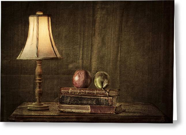Wooden Table Greeting Cards - Fruit and Books Greeting Card by Erik Brede