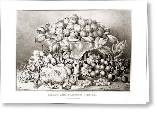 Fruit And Flower Piece - 1863 Greeting Card by Pablo Romero