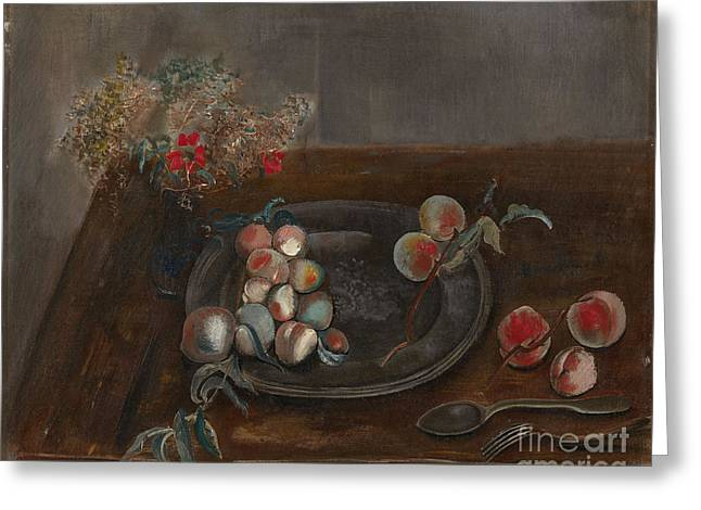 Strength Paintings Greeting Cards - Fruit and Flowers on a Table Greeting Card by Celestial Images
