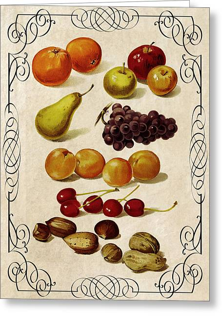 Apricot Digital Art Greeting Cards - FRUIT and NUTS KITCHEN PANEL 1896 Greeting Card by Daniel Hagerman