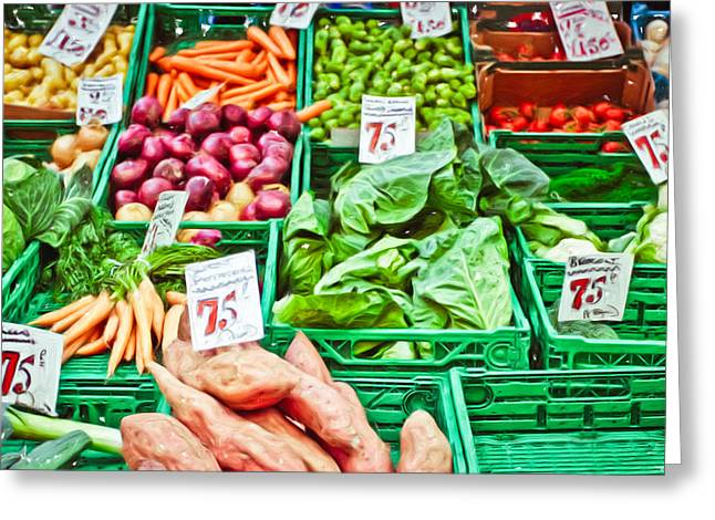 Local Food Greeting Cards - Fruit and vegetable stall Greeting Card by Tom Gowanlock