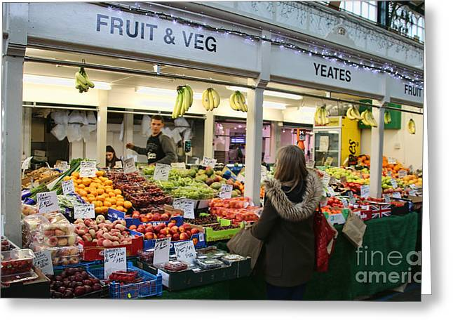 Fruits And Vegetables Greeting Cards - Fruit and Vegetable Stand in Cardiff Wales 8293 Greeting Card by Jack Schultz