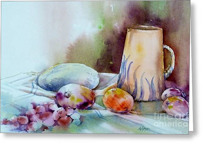 Print On Canvas Greeting Cards - Fruit and Water Jug Greeting Card by Donna Acheson-Juillet