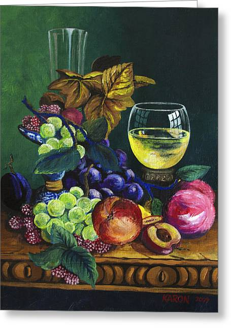 Fruit And Wine Greeting Cards - Fruit and Wine Greeting Card by Karon Melillo DeVega