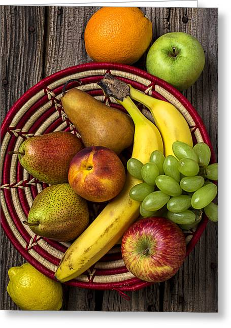 Apple Greeting Cards - Fruit Basket Greeting Card by Garry Gay