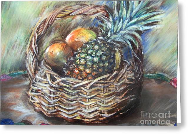 Basket Pastels Greeting Cards - Fruit Basket Greeting Card by Melanie Alcantara Correia