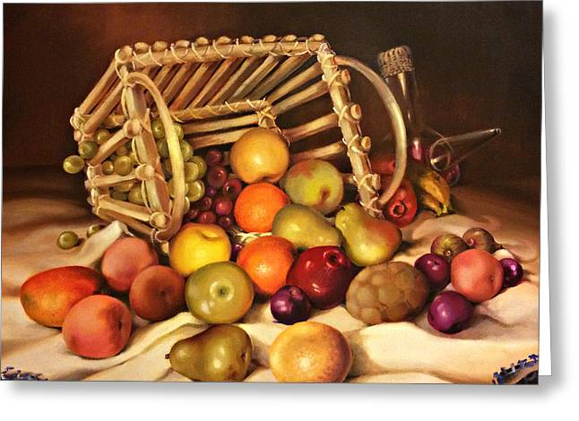 Fruit And Wine Greeting Cards - Fruit Basket with Porron Greeting Card by Niky Parks