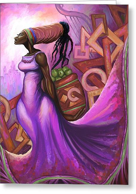 Wrap Dress Greeting Cards - Fruit Bearer Greeting Card by The Art of DionJa