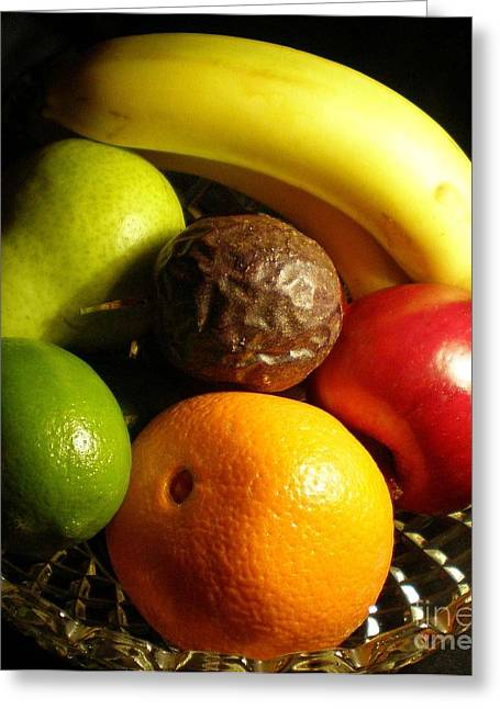Passionfruit Photographs Greeting Cards - Fruit Bowl Greeting Card by Linda Provan