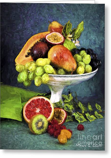 Pear Art Pyrography Greeting Cards - Fruit Bowl Greeting Card by Mauro Celotti