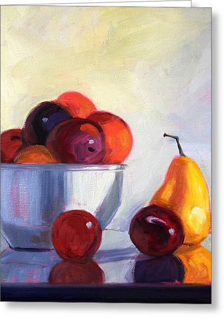 American Food Paintings Greeting Cards - Fruit Bowl Greeting Card by Nancy Merkle