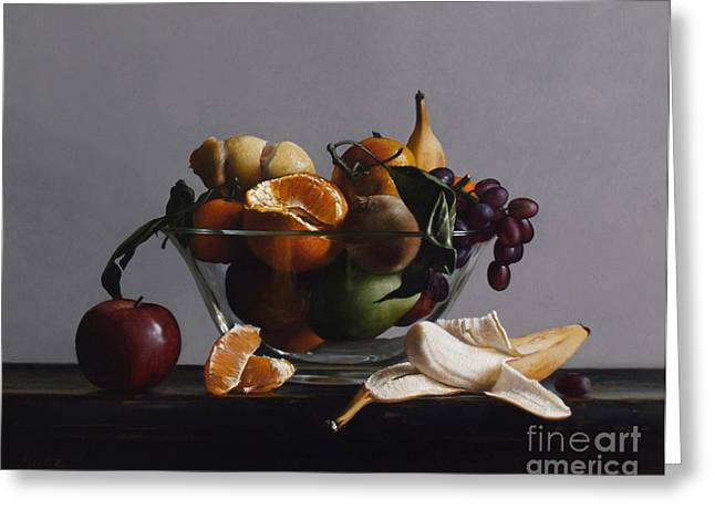 Apple Paintings Greeting Cards - FRUIT BOWL no.2 Greeting Card by Larry Preston