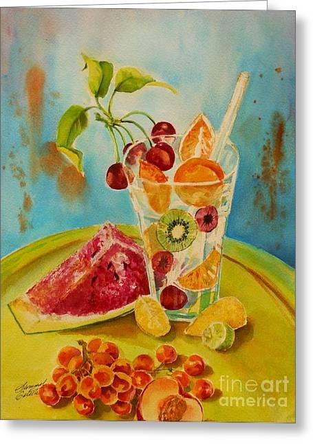 Summer Celeste Greeting Cards - Fruit Coctail Greeting Card by Summer Celeste