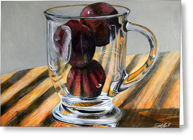 Food Art Paintings Greeting Cards - Fruit Cup Greeting Card by Steve Goad