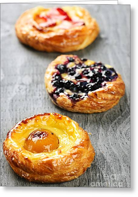 Portion Greeting Cards - Fruit danishes Greeting Card by Elena Elisseeva