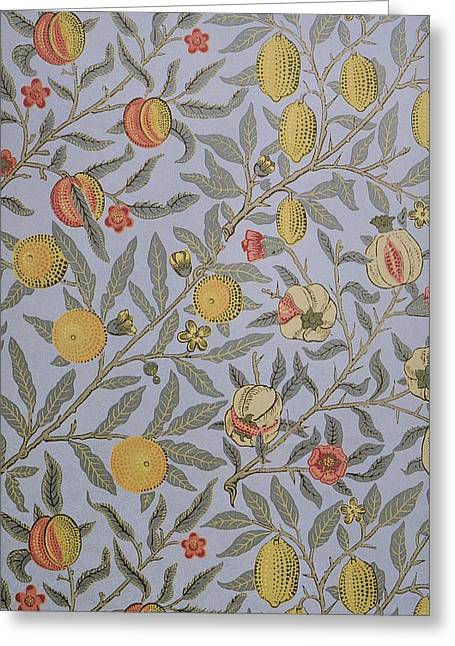 Victorian Tapestries - Textiles Greeting Cards - Fruit Design 1866 Greeting Card by William Morris