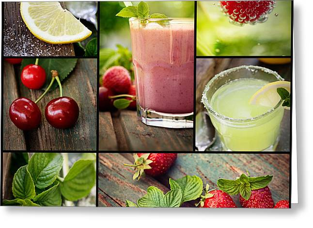 Fruit Drinks Collage Greeting Card by Mythja Photography